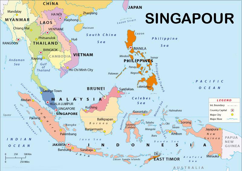 Singapour sur carte du monde | Trouver des idées pour voyager en Asie