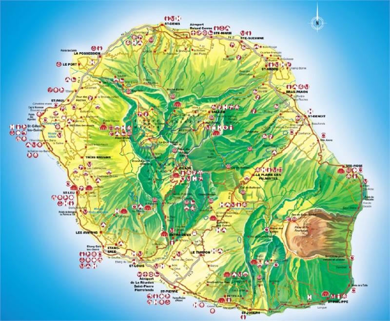 Carte De La Reunion Detaillee.Carte De La Reunion Voyages Cartes