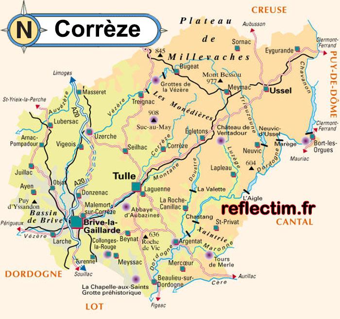 Carte de Corrèze