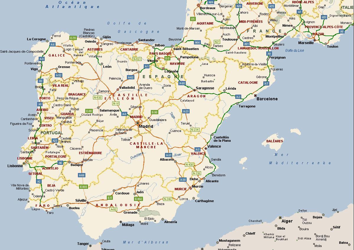 Carte Espagne Sud