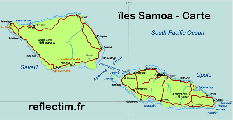 Carte des îles Samoa