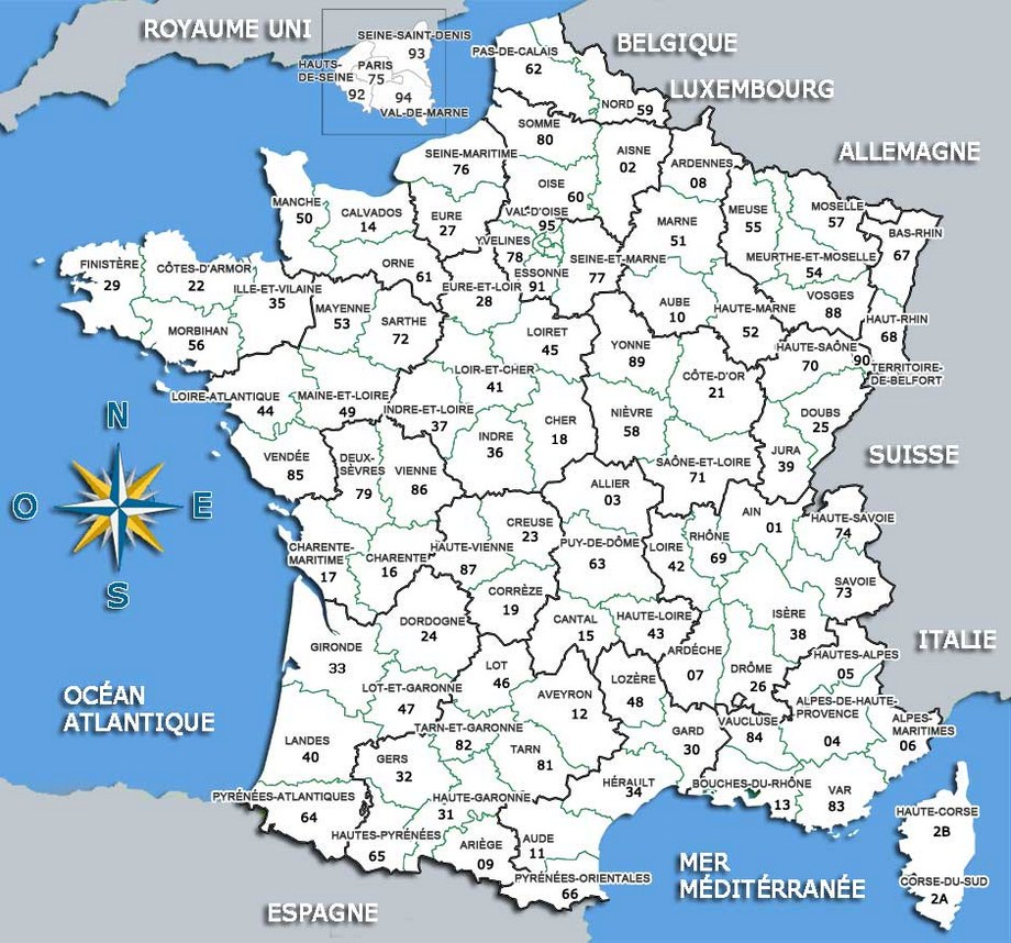 carte des departements - Photo