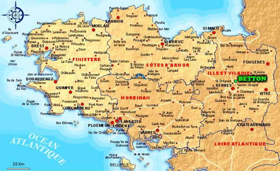 Image et Carte de Bretagne Nord  Itinéraire  Cartes et Photos