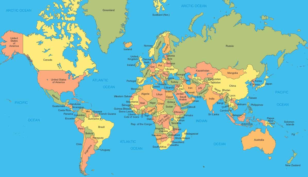 Carte du Monde Pays