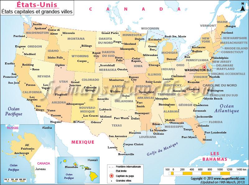 Carte états unis villes et capitales