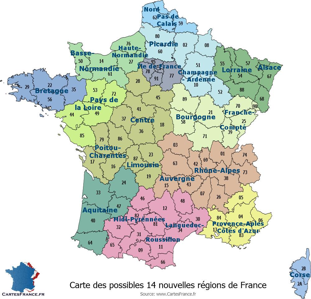 Carte des nouvelles régions de France - 2016