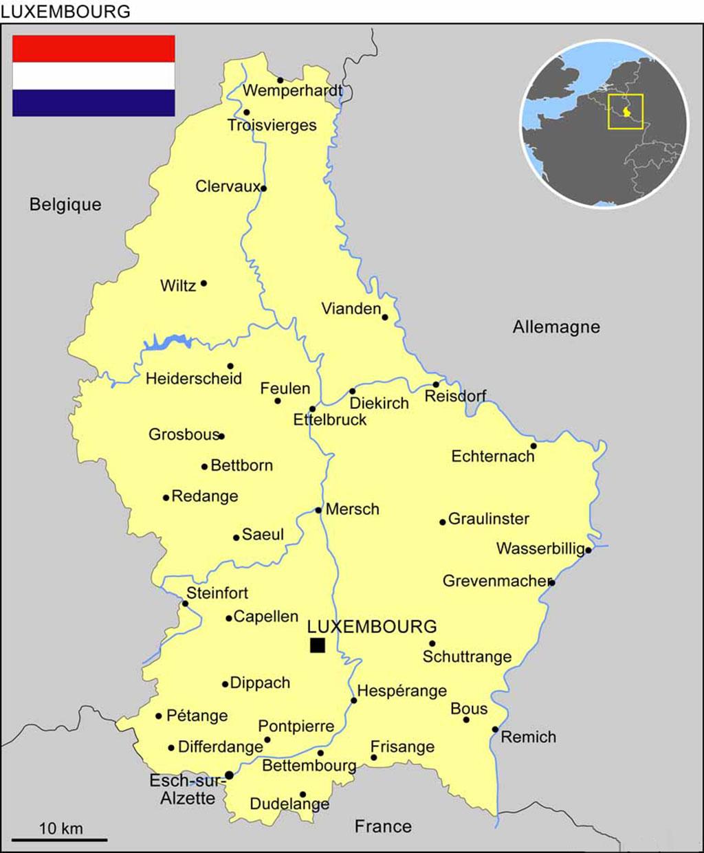 Carte du Luxembourg