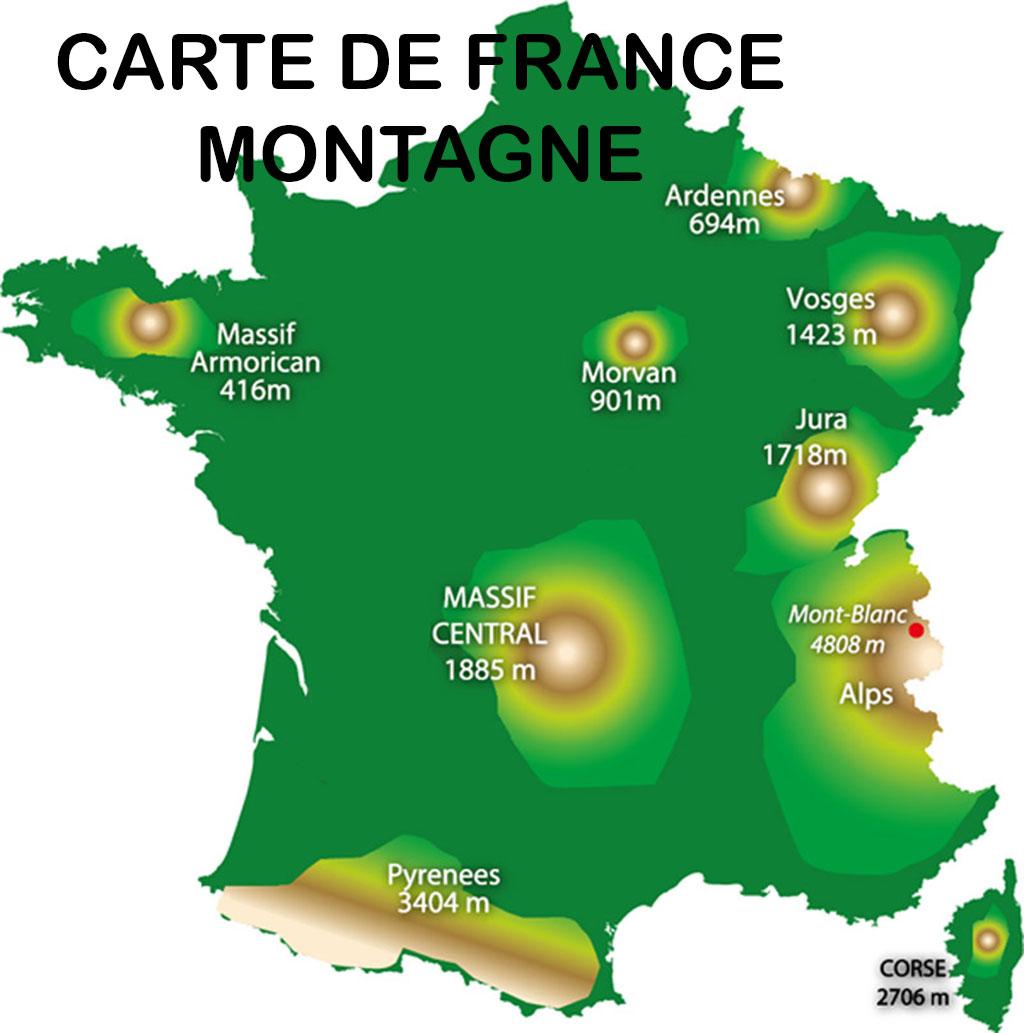 Carte de France - Montagne