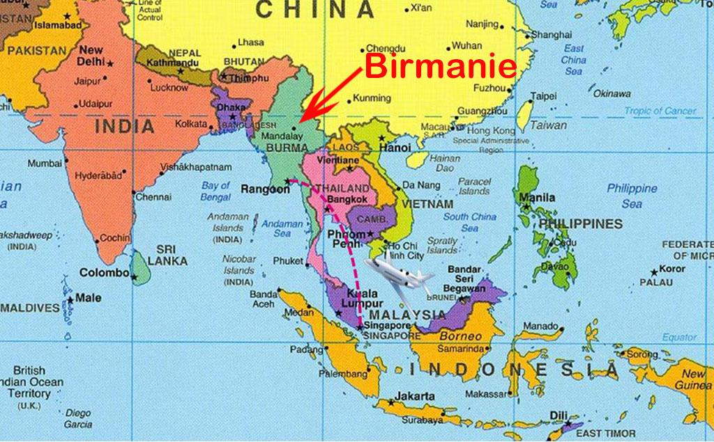 carte de la birmanie Carte du monde Birmanie   Voyages   Cartes