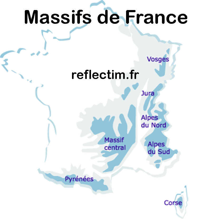 Massifs de France - Carte