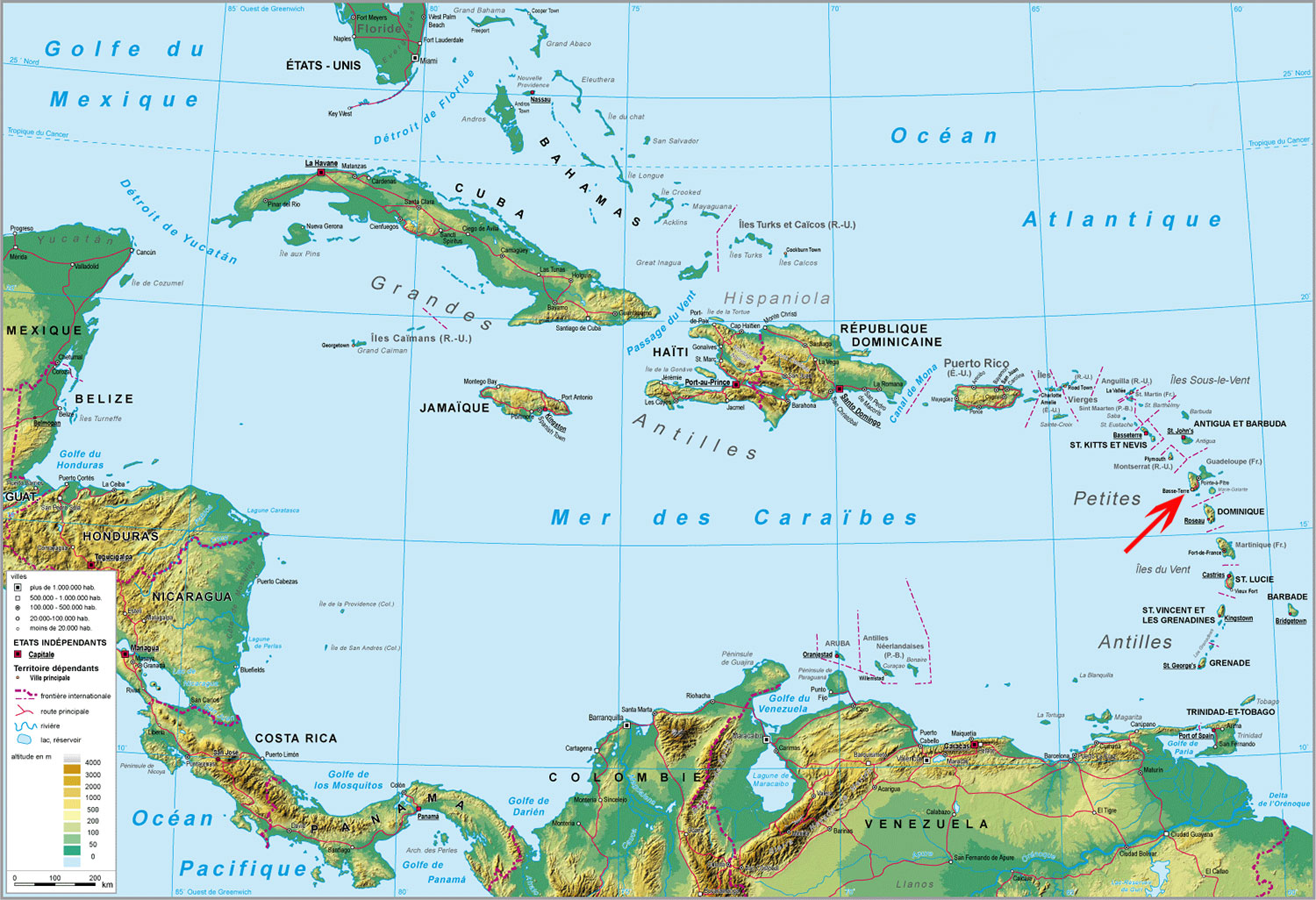 carte guadeloupe martinique
