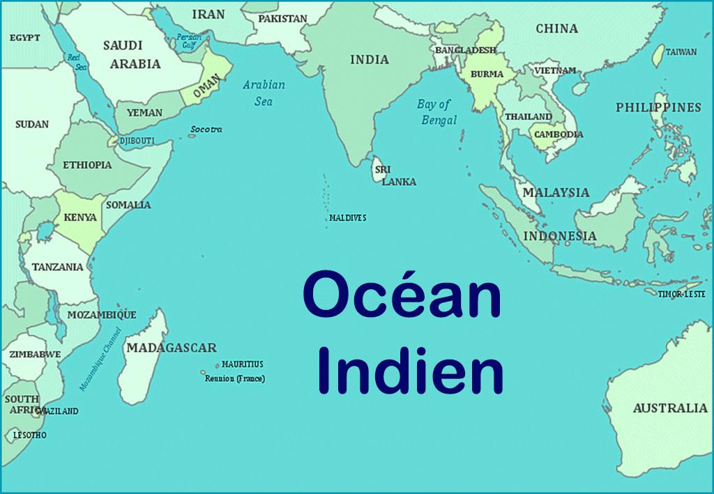 Océan indien carte du monde | Arts et Voyages