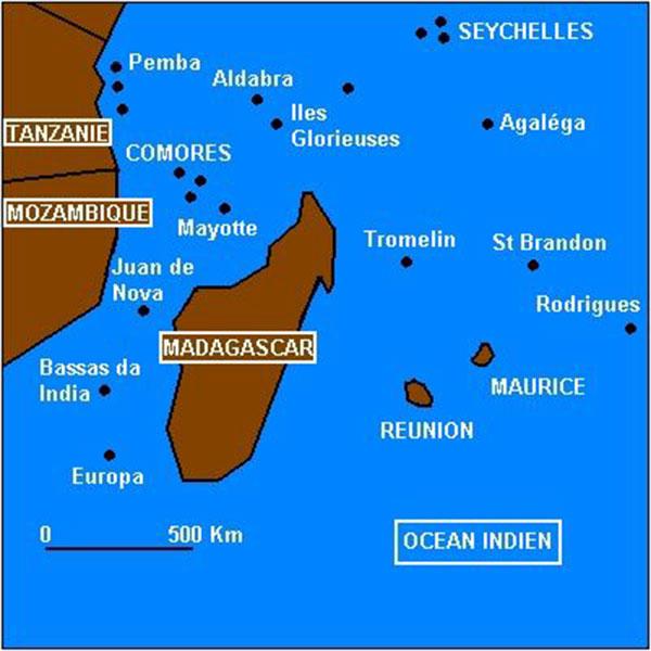 Iles Océan Indien - Carte