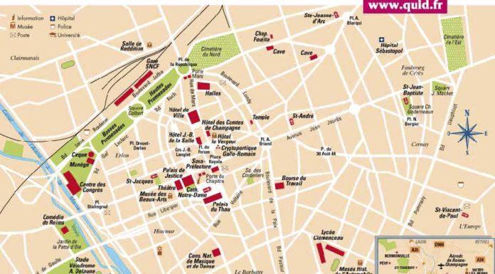 Reims sur la carte de france voyages cartes - Carte de visite reims ...