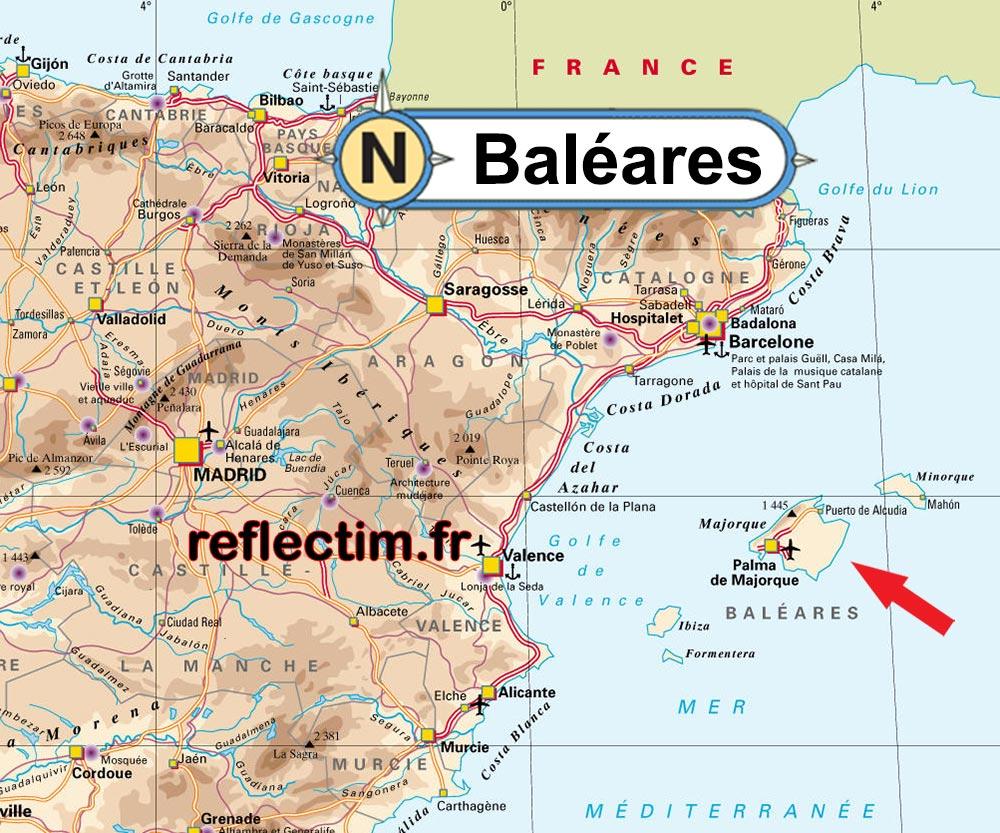 Les Baléares - Carte