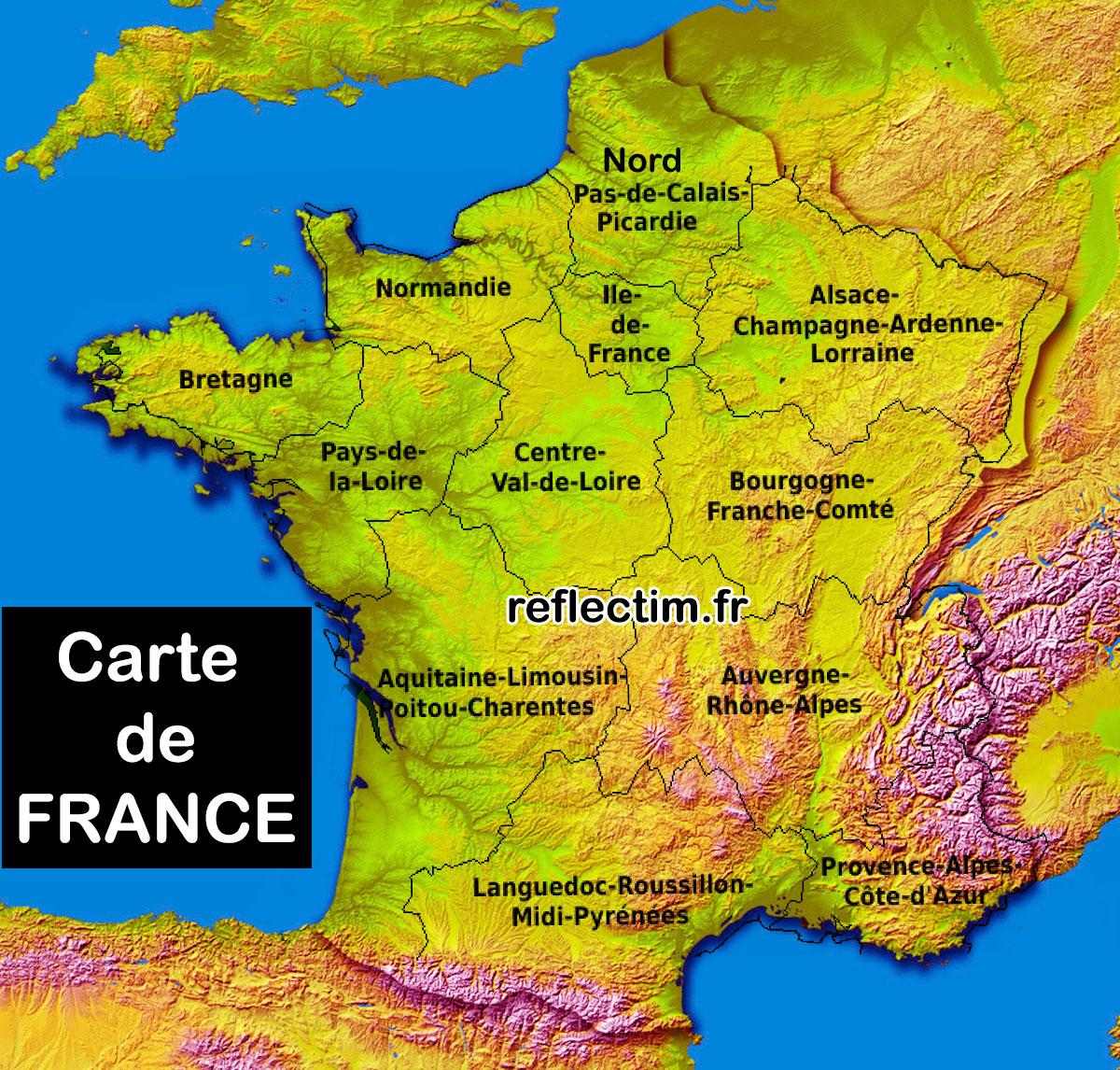 Carte de France départements régions