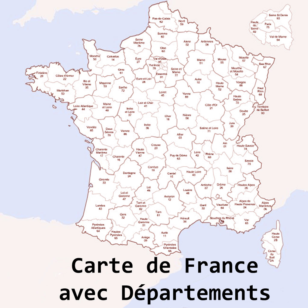 carte de france a colorier avec departements