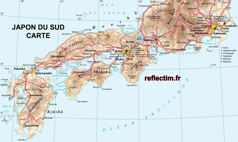 Sud du Japon Carte