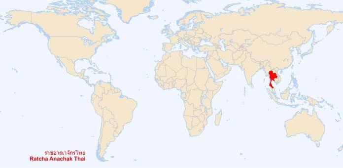 Thaïlande sur la carte du monde