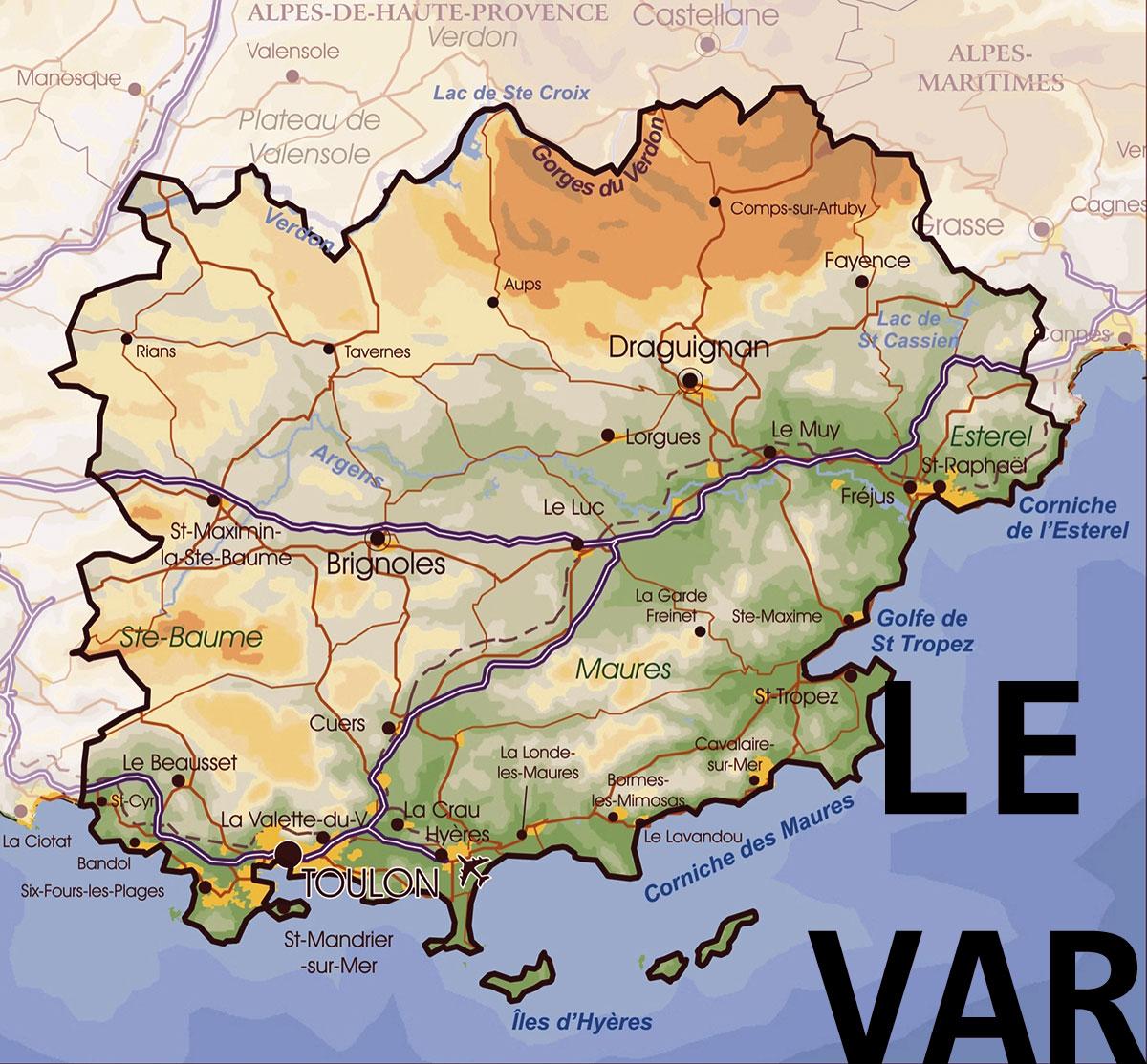 Carte Du Var Détaillé | tonaartsenfotografie
