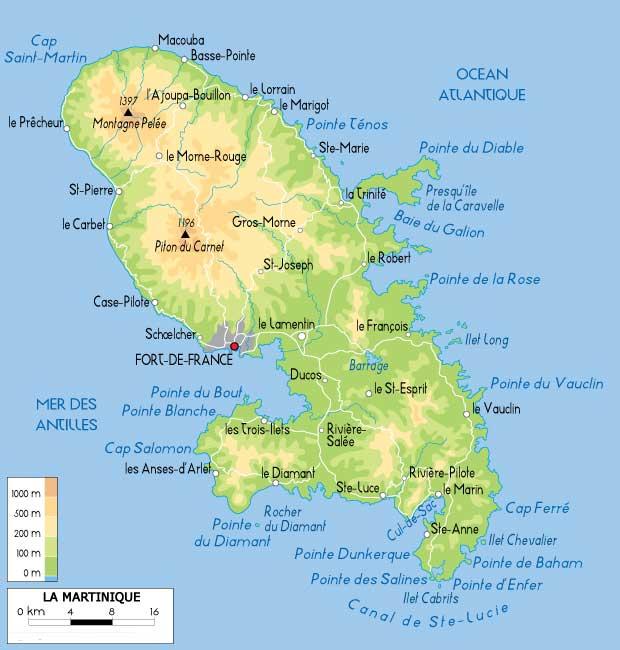 Martinique carte géograpique