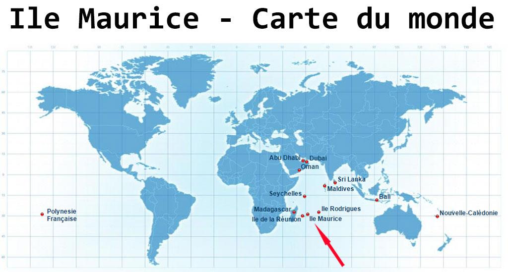 Carte du monde île Maurice •▷