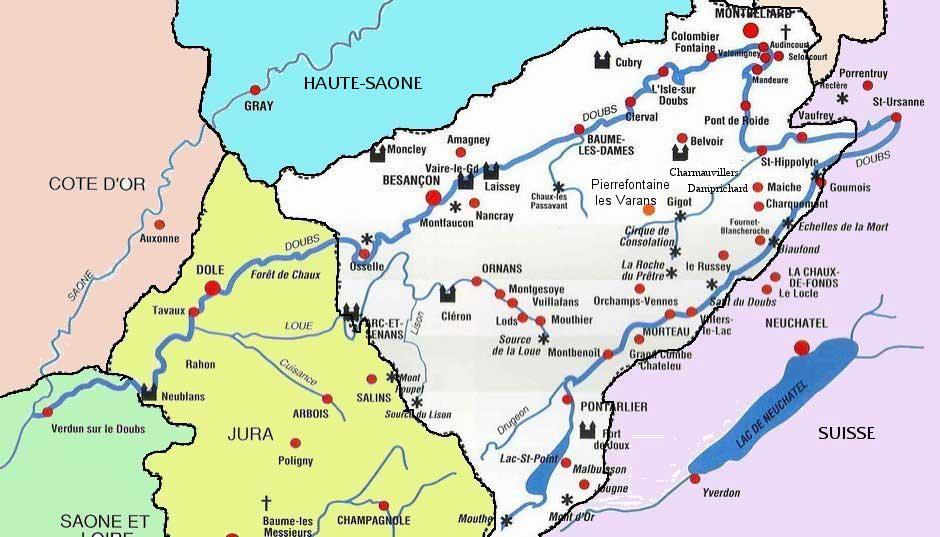 Carte géographique du Doubs