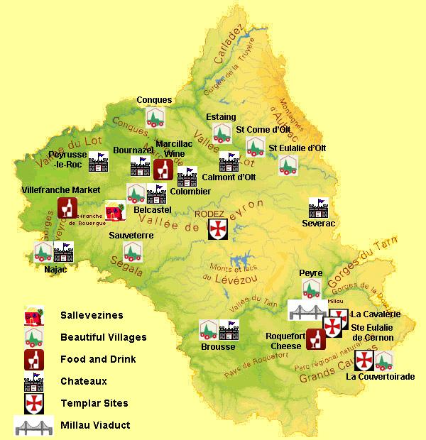 Carte département Aveyron