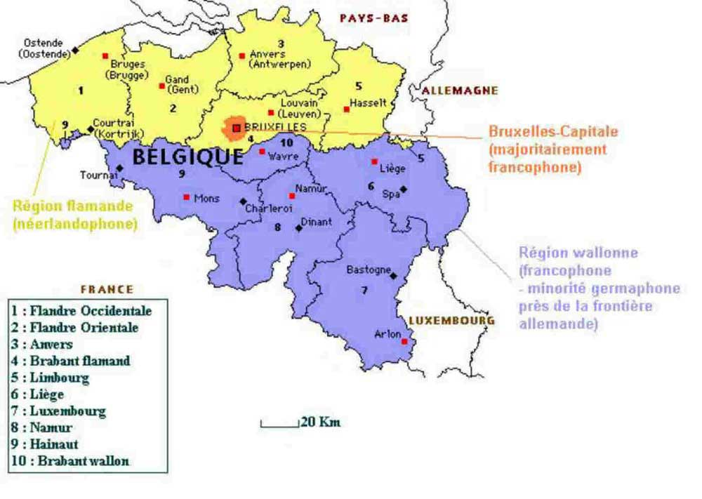 Carte de la région Flamande