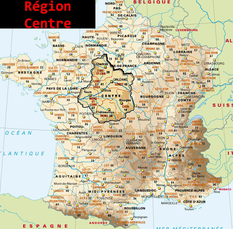 Carte de la Région Centre