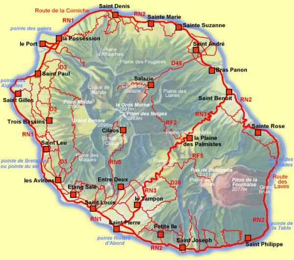 Carte géographique de la Réunion