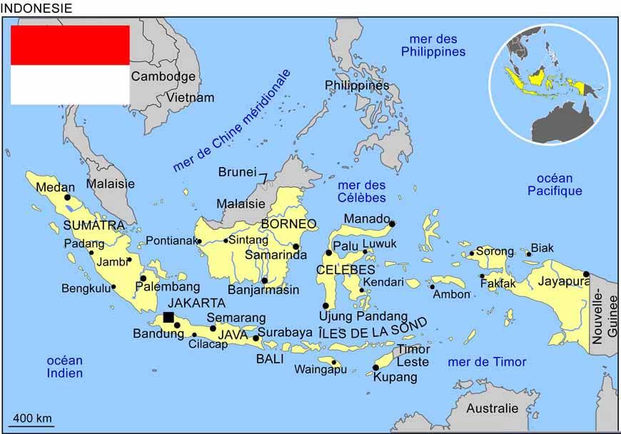 Carte du monde Jakarta