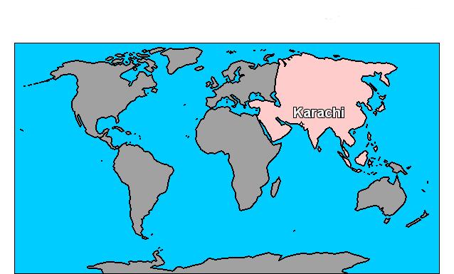 karachi - Carte du monde