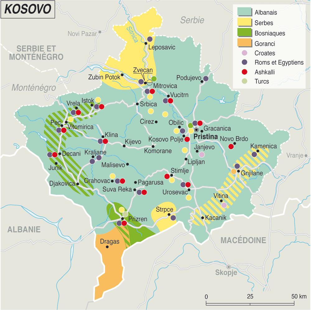 Carte du monde kosovo