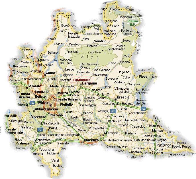 Carte de la Lombardie