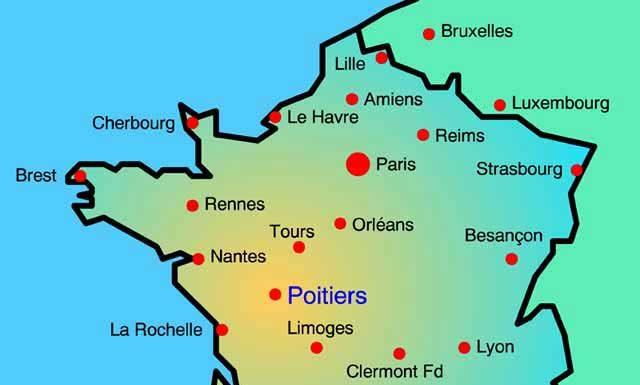 Poitiers sur la carte de France