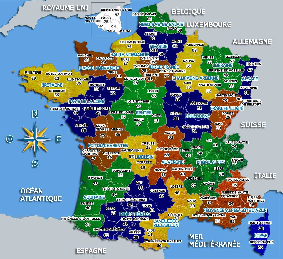 carte giogrfique france - Image