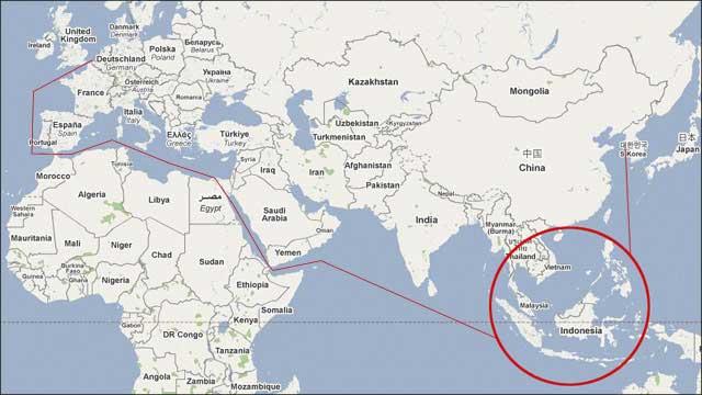 indonésie carte du monde Indonésie sur la carte du monde   Voyages   Cartes