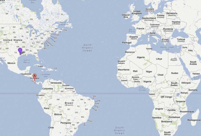 Le Costa Rica sur la carte du monde